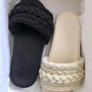 Frauen Mules Pearls Lambskin Slides Sandale Slipper Designer Rubber Slide Sandale Sommer Flip Flops Außen kausalen Pantoffel mit Box US5-11