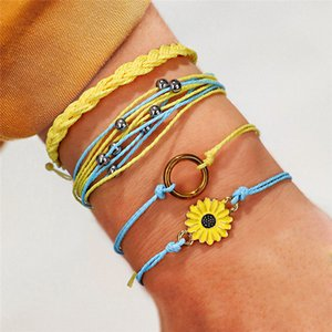 Hot Sale Sunflower Wax Cotton Bracelet Set For Women Charm Handmade Small Daisy Rope Bracelet Friendship