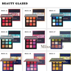 Beleza vitrificada Eyeshadow Palette 9 cores néon Eyeshadow brilhantes pressionado Metal em pó Matte Shimmer Eye Makeup Palette Sombra DHL grátis