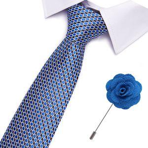 Bow Ties Luxury Neckties Men's Stripe Blue Neck Formal Dress Wedding Jacquard Woven 100% Silk Men Business