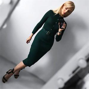 Платье [Lakysilk] Повседневный вязаный свитер платье для зимы женщин Женщины с длинным рукавом с кнопками Sexy Lady офис Maxi пуловеры Y200601