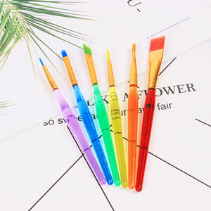 DIY Children 6 Pcs Set Watercolor Brush Transparent Colorful Rod Art Painting Brush Durable Students Soft Brush Drawing Pen TQQ BH1200