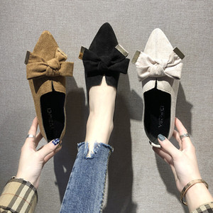Overseas2019 unique de Sharp femme Xia Rong nouilles Shallow Chaussures bouche Bow fond plat Simples Joker Chaussures Femmes