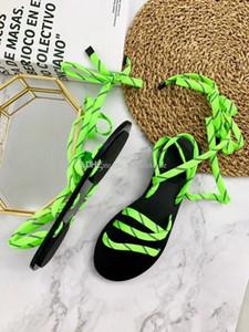 Sandalias atadas-Cruz Verde fluo mujeres de las sandalias de tacón bajo zapatos de la plataforma del cuero auténtico Suela de goma zapatos de moda Cordones