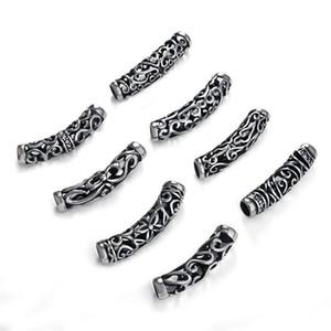 3pcs de aço inoxidável longo tubo de slides encantos Slider Spacer Beads Fit 6 milímetros rodada couro de DIY Mens Bracelet Jóias fazendo entregas