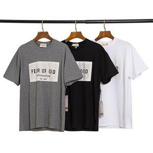 2020 Frühling, Sommer, 6. Fear Of God Sechste Sammlung Flecken-Aufkleber T Skateboard Kühle T-Shirt Nebel Männer Frauen kurze Hülsen-beiläufiges T-Shirt