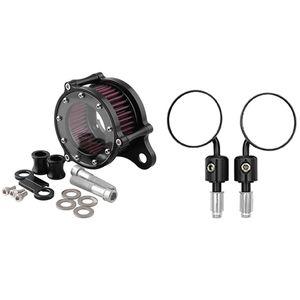 2 Set Motorcycle Accessories: 1 Set Air Cleaner Intake Filter System Kit & 1 Handlebar Bar Mirrors Rearview Mirror