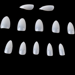 5bag*600pcs Oval Sharp End Stiletto Full Cover False Nails Short Kunstnagels French Nail Art tips Makeup Unhas Postiza 3 Colors