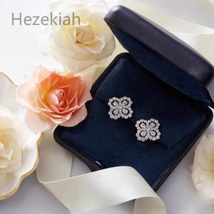 Hezekiah S925 Pure Silver Flower Earrings Clover Temperament lady Earrings Dance party High-end quality Luxury fashion Eardrop