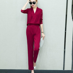 2020 Fashion Spring 2pcs Fashion Women V-Neck Long Sleeve Long pant Suit Solid Lace Warm Tops+Pants Set training sportive donna