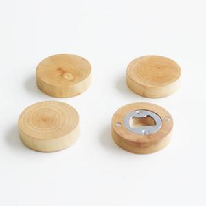 فارغة DIY الشكل جولة خشبية فتاحة زجاجات كوستر مغناطيس الثلاجة ديكور زجاجة بيرة فتاحة