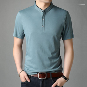 Slim Top Mens Solid Color Business Knitted Tshirt Summer Casual Lapel Neck Solid Color Tees Homme Designer