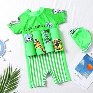 Новый плавучий мужской и женского Swimsuit износа младенец мультфильм лев неразъемные малолетние дети и дети плавучесть купальника 3AgDh