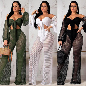 Katı Hollow Out Seksi 2 Adet Set Kadınlar Yaka Uzun Kollu Crop Top Ve Yüksek Bel Düz Pantolon 2020 Party Club Wear S3509 Slash