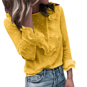 Womens Petal Sleeve Blouses Designer Patchwork Chiffon Shirts New Fashion Spring O Neck Solid Color Vestidos Clothing