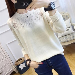 2019New Women Knitted Bottom Shirt Lace embroidery Long Sleeve Hollow Sweater, Large Size and Thin Blouse, Spring Garment