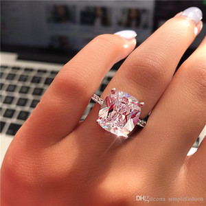 vecalon Fine Promise Ring 925 sterling Silver Cushion cut 7mm Diamonds cz Engagement Wedding Band Rings For Women Jewelry