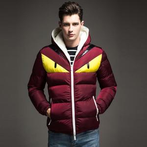 Fendi Invierno 2019 nuevo de la manera diseño hombres de la chaqueta abajo contraste grande del ojo de algodón acolchado Escudo Parka Veste Puffer capucha Homme Hiver