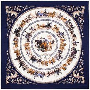 Scarves 100cm*100cm 100% Twill Silk Euro Brand Royal Household Horse Carriage Trip Women Square Scarf Spring Femal Shawl 3122