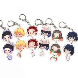 Cartoon Anime Demon Slayer Kimetsu No Yaiba Keychain Kamado Nezuko Agatsuma Zenitsu Hashibira Inosuke Acrylic Key Chain Cute Fun