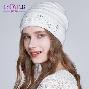 ENJOYFUR Doppel Futter Herbst-Winter-Hüte für Damen Wolle gestrickt Beanies Caps mit Strass Weibliche Hüte