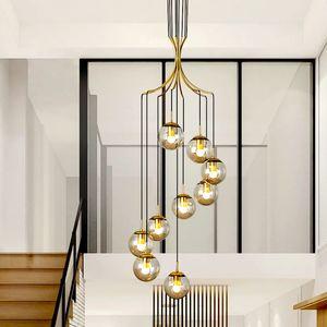 Modern Stair Long Pendant Lamps Simple Living Room Glass Pendant Lights Nordic LOFT Apartment Lamps Duplex Building Hanging Light Fixtures