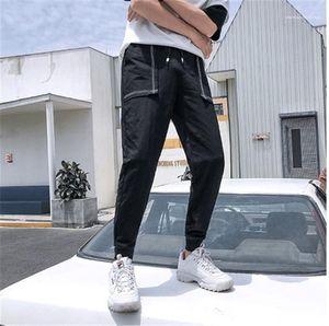Drawstring Pencil Pants Mens Regular Straight Pure Color Mid Capris Pants Mens Pocket Patchwork Pants Fashion