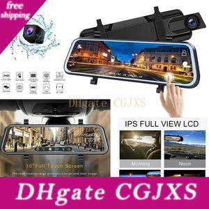 Ips tela de alta qualidade 10 polegadas carro DVR Retrovisor traço Cam Full HD Car Camera 1080p Voltar Dual Camera Lens Video Recorder