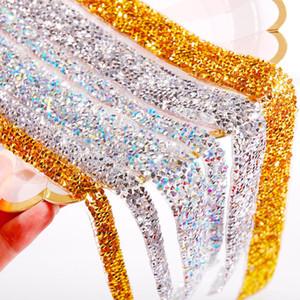 Hot Fix Auto adhesivo acrílico de 40 cm de cristal Rhinestones etiqueta engomada de la cinta del arte bricolaje gema del brillo pegatinas para álbumes de recortes Artes Decoración DHA963