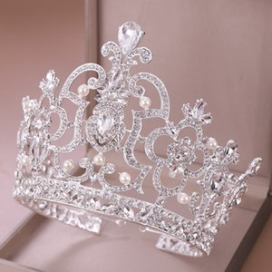 AiliBride couleur Argent Big Crown perle cristal Diadem Reine tiare chef bijoux de mariée mariage Headpiece Accessoires cheveux Y200807