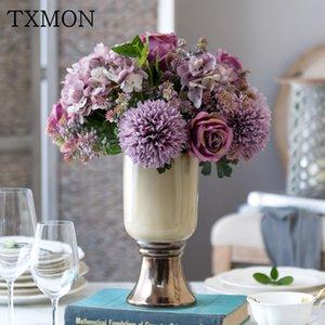 TXMON Wedding table fiore di simulazione decorazione bouquet falsi fiori luce lusso fiore fila casa soggiorno decorazione floreale