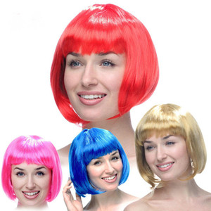 15 colores de moda estilo bob estilo corta fiesta pelucas caramelo colores halloween navidad corto recto cosplay pelucas fiesta elegante vestido peluces