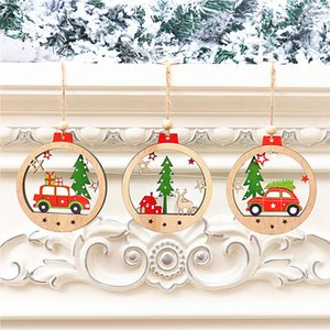 New Year Merry Christmas Tree Decorations for Home Natural Wood Xmas Ornament Wooden Hanging Christmas Pendant Drop Gifts