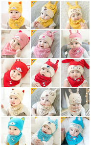 Cute Baby hat bib set Autumn and winter neonatal thick cover cap trendy baby cotton knit cap cartoon warm hat lxj152