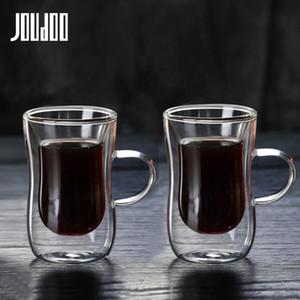 JOUDOO media / 4/6 / 8PCS 80 ml doble capa de vidrio de café estilo europeo-taza de la taza de café con la manija Espresso Copas Cafe Glass 35