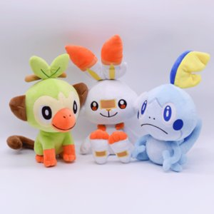 High Quality 100% Cotton Scorbunny Sobble Grookey Plush Toy For Child Holiday Best Gifts 23-33cm NOPO014