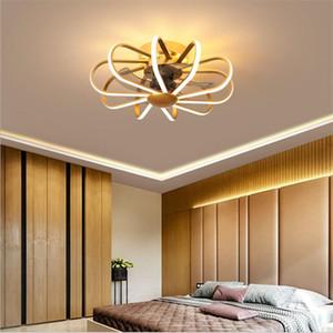 Simple moderna moderna forma de línea Ventilador de techo con luces del restaurante del dormitorio sala de estar Nordic ventiladores de techo LED de la lámpara 110V 220V