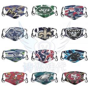 2020 New Fashion Designer máscaras contra poeira Rugby equipe Máscara Bengals Ravens Jaguars Titans Chiefs Steelers Broncos reutilizável Ciclismo Rosto