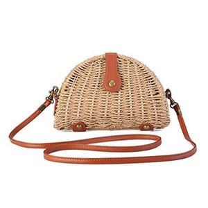 Designer-Small Straw Crossbody Beutel der Frauen-Halbrund-Rattan-Geldbeutel-Schulter-Beutel für Beach-Reisen und den täglichen Einsatz