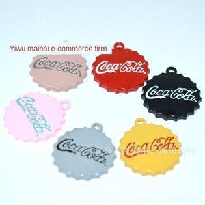 8322-21mm de bricolaje colgante botella de cola cola tapa de botella accesorios hechos a mano bricolaje planas pendientes colgantes pintados caso clave colgantes it5dI