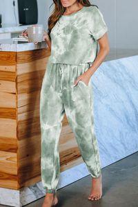 DHL per Pigiama tiedye per le donne girocollo Tie Dye pigiama corto Imposta Tie Dye Shorts Womens sbiancato lilla bella newclipper RzhTX