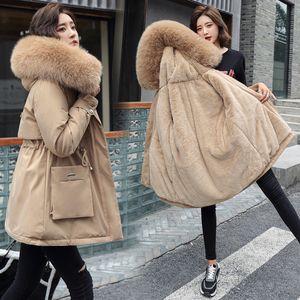 Женские Parkas Winter Plus Partas Parts Parvet Eartwear Женщины Пальто Парки Куртка 2021 Мода Большой Меховой Воротник Тонкий синий Пальто с капюшоном Casaco Femi