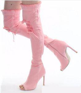 Venta caliente dril de algodón rosada alta del muslo botas peep toe rasgada Overknee mujeres de las botas de tacón alto del recorte Gladaitor sandalias
