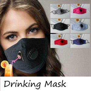 Взрослый Pure Color Cotton Face Mask моющийся пыле Drinking маска с отверстиями Стро дышащий Защитные маски Дизайнер DD459