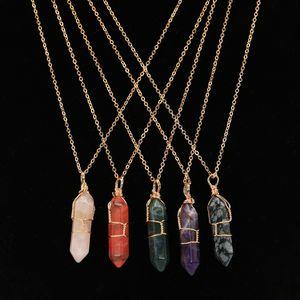 Crystals Fashion Anhänger Hexagonal Säule Halskette mit Goldkette Anhänger Naturstein Achat Wedding liefert kreative 5LE B2 Heilung