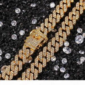 12MM Mens ha ghiacciato fuori la collana del braccialetto del braccialetto regolati per le donne S pesanti spesse Bling Miami cubana Catena di Hip Hop Rapper monili di lusso