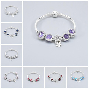 Classic Women Gift Blue Beaded Bracelet 8 Colors Fashion Female Elegant Beaded Bracelet Crystal Rhinestone Beads Bracelets DH1074-1 T03