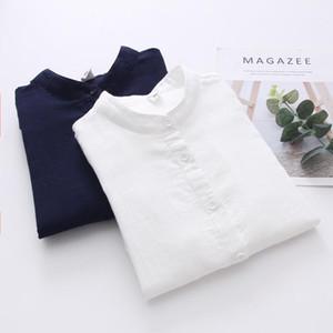 Kumeiya Frauen Büro Shirts Herbst weiße Blusen beiläufige Damen Tops Weibliche Blusas Mode Camisa Doppelbaumwollgarn Kleidung