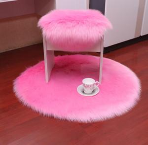 Ronda suave alfombra artificial manta de la zalea Cubierta de la silla Mat dormitorio de lana larga caliente Hairy alfombra asiento decoración de la boda Textil Piel Alfombras