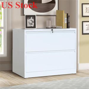 US Stock Bianco Bianco Blocco file Laterale Cabinet 2 Cassetto con chiave di blocco WF192114kaa
